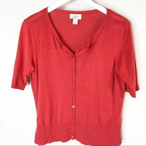 Loft Red Cropped Cardigan Size M